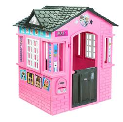 Outdoor Pink Playhouse with Glitter Girls Kids Play House In