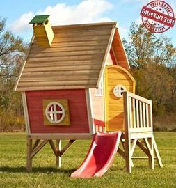 Outdoor Playhouse with Slide Wooden Kids Play Residential Ba