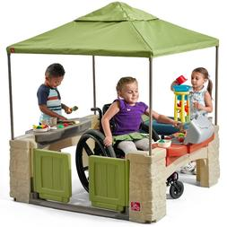 Outdoor Playset Playhouse with Canopy Green 16 Accessories S