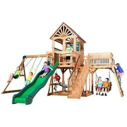 Outdoor Set Swing Toy Slide Playset Wooden Playhouse Stairs
