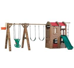 Outdoor Swing Set Kids Play House Fort Jungle Gym Sturdy Gli