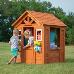 outdoor wooden playhouse kids backyard shelter wood