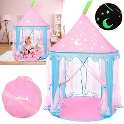 Pink Girls Castle Play Tent Foldable Playhouse Children Kids