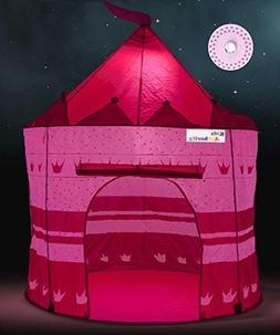 Girl's Pink Princess Castle Play Tent with LED light & Glow