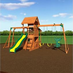 Wooden Cedar Outdoor Swingset Play Set Clubhouse Fort Backya