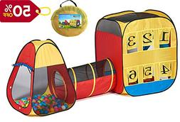 UTEX 3 in 1 Pop up Play Tent with Tunnel ,Ball Pit for Kids,