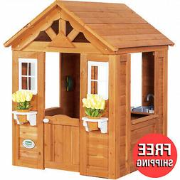 Outdoor Play House for Toddler Kids Wood Wooden Toy Pretend