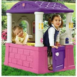 Kids Outdoor Playhouse with 2 Built-In Seats and Tabletop Ba