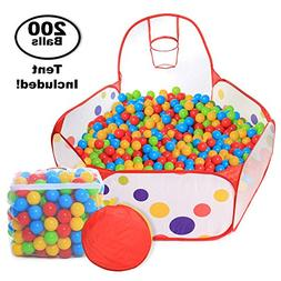 Pop Up Kids Ball Pit, Bundle Combo with 200 Colored Plastic