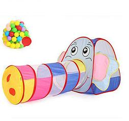 Biscount Pop-Up Play Tent Multi-Color Elephant Tunnel Indoor
