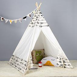 Steegic Portable Kids Cotton Canvas Teepee Indian Play Tent