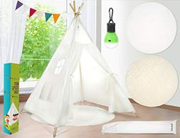 Kids Teepee Tent Children Play Tent 5 ft Raw White Cotton Ca