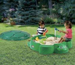 Little Tikes Turtle Sandbox With Cover Seats Outdoor Backyar
