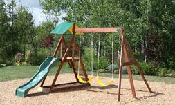wooden outdoor backyard swing and slide playset
