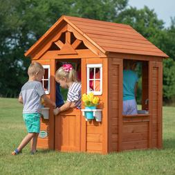 Outdoor Wooden Playhouse Backyard Kids House Family Play Clu