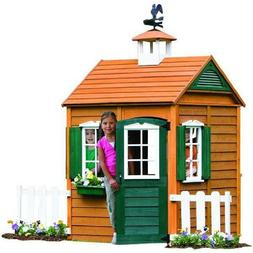 Wooden Playhouse Permanent Outdoor Play House Realistic Cott