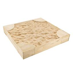 Hey!Play! Wooden Sandbox with Built in Seating- Durable & Sp