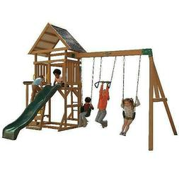 Wooden Swing Set Kids Backyard Gym Outdoor Raised Playhouse