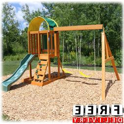 Wooden Swing Set Playground Outdoor Cedar Playhouse Backyard