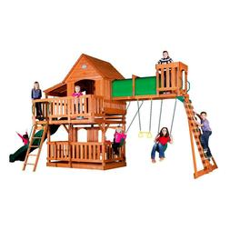 Backyard Discovery Woodridge II All Cedar Wood Playset Swing